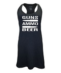 Guns.  Ammo.  Beer.  Racer Back Swim Suit Cover Up