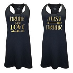Drunk In Love & Just Drunk. Matching Bridal Party Racer Back Swim Suit Cover Up