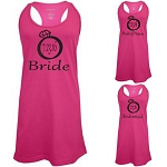 Bride, Maid of Honor & Bridesmaid with Wedding Date in Diamond Ring. Matching Bridal Party Racer Back Swim Suit Cover Up