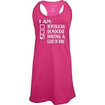 I Am Republican, Democrat, Having A Glass Of Wine.  Racer Back Swim Suit Cover Up