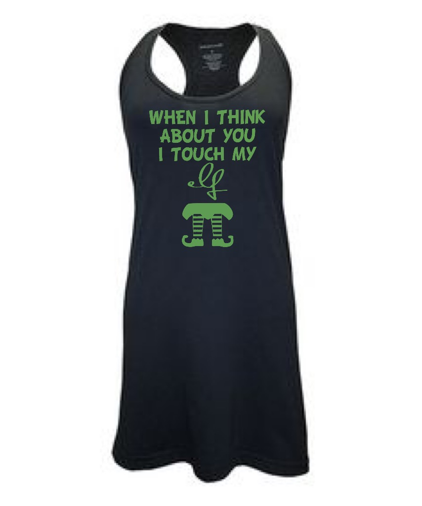 When I Think About You I Touch My Elf.  Racer Back Swim Suit Cover Up