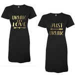 Drunk In Love & Just Drunk.  Matching Bridal Party V-Neck Swim Suit Cover Up
