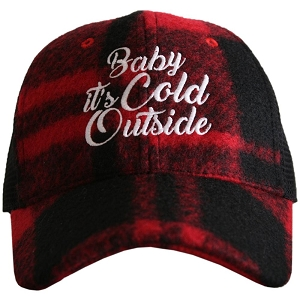 Baby It's Cold Outside.  Red Plaid Trucker Hat