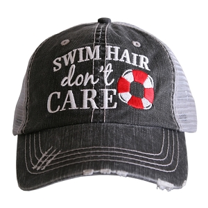 Swim Hair Don't Care.  Women's Trucker Hat
