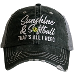 Sunshine And Softball.  That's All I Need.  Women's Trucker Hat
