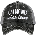 Cat Mother.  Wine Lover.  Women's Trucker Hat