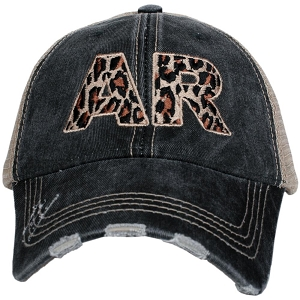 Arkansas State Leopard Print.  Women's Trucker Hat
