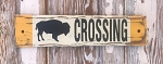Bison Crossing.  Rustic Wood Sign