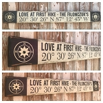 Love At First Hike Custom GPS Coordinates Sign with Last Name.  Rustic 4 Foot Long Wood Sign.