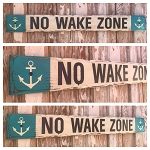 No Wake Zone.  Rustic 4 Foot Long Wood Sign