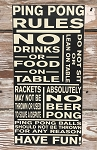 Ping Pong Rules.  Wood Sign