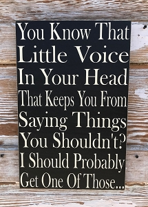 You Know That Little Voice In Your Head That Keeps You From Saying Things You Shouldn't?  I Should Probably Get One Of Those...  Wood Sign