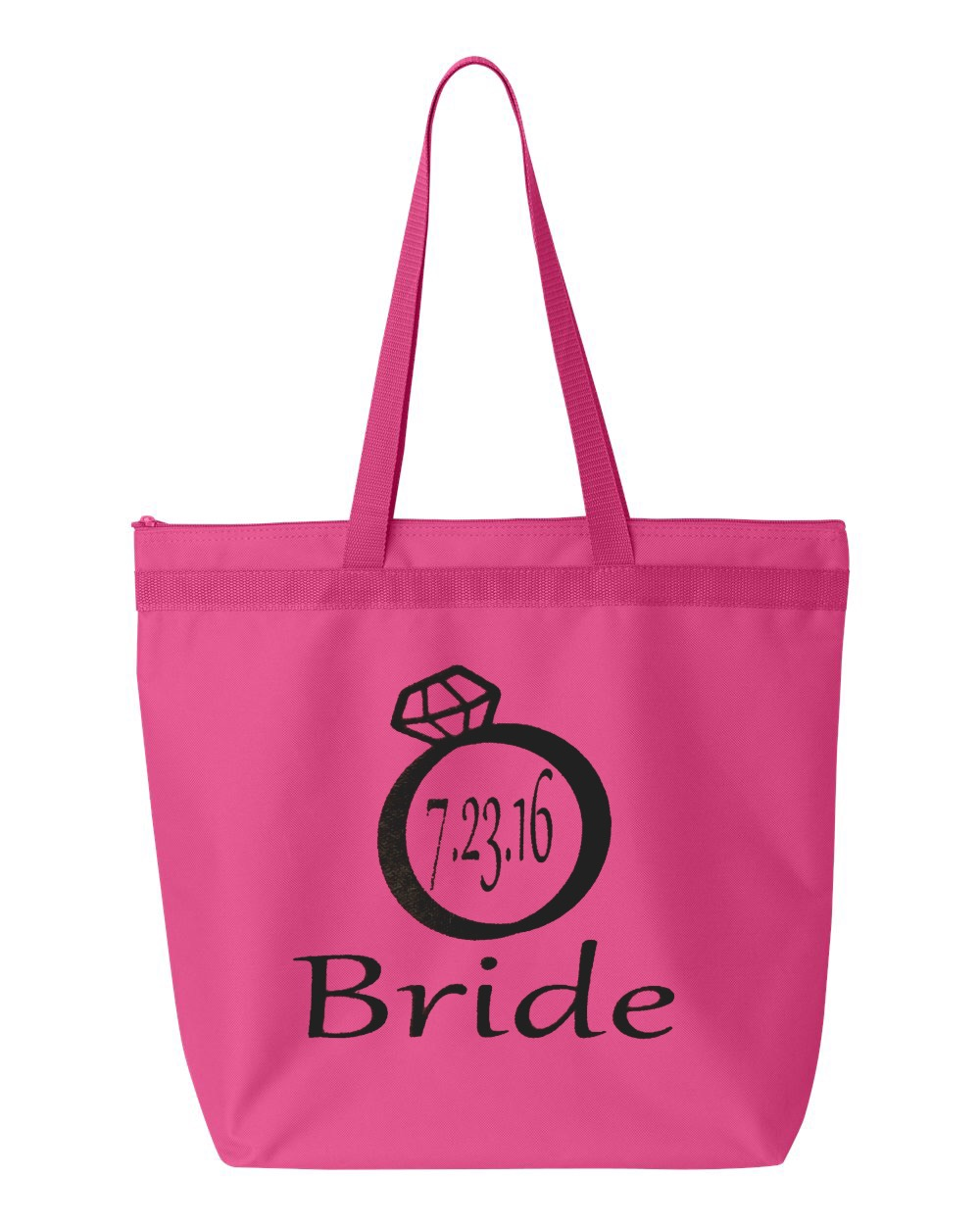 Bridal Party with Wedding Date Zipper Tote Bag