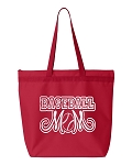 Baseball Mom.  Zipper Tote Bag