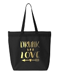 Drunk In Love & Just Drunk.   Bridal Party Zipper Tote Bag