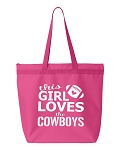 This Girl Loves The Cowboys.  Zipper Tote Bag
