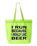 I Run Because I Really Like Beer.  Zipper Tote Bag