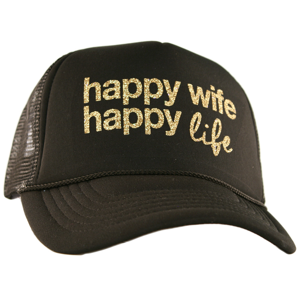 Happy Wife.  Happy Life.  Trucker Hat