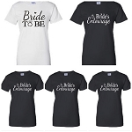 Bride to Be and Bride Entourage Ladies Fit T-Shirts Set of 5