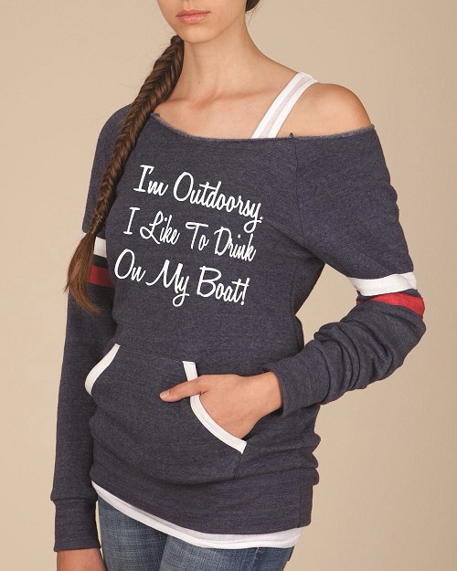 I'm Outdoorsy.  I Like To Drink On My Boat. Women's Scoop Neck Sweatshirt