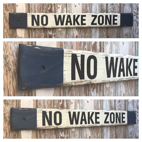 No Wake Zone.  4 Ft Wood Sign