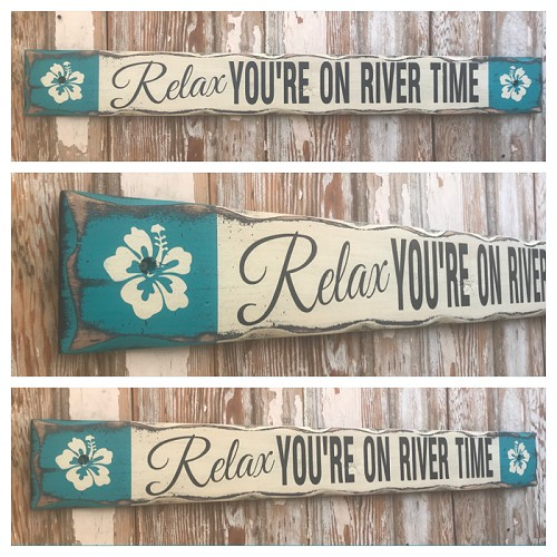 Relax.  You're On River Time.  Rustic 4 Foot Long Wood Sign