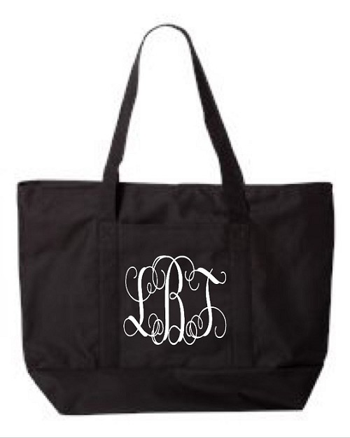 Monogrammed Zipper Tote Bag