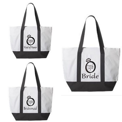 Bride, Maid of Honor & Bridesmaid with Wedding Date in Diamond Ring.  Matching Bridal Party Zipper Tote Bag