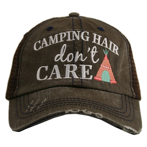 Camping Hair Don't Care.  Women's Trucker Hat - BROWN