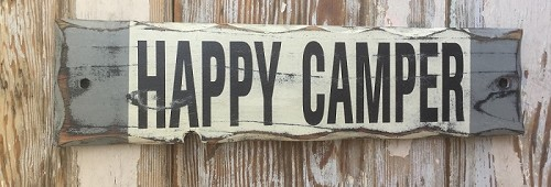 Happy Camper.  Rustic Wood Sign.