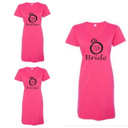 Bride, Maid of Honor & Bridesmaid with Wedding Date in Diamond Ring.  Matching Bridal Party V-Neck Swim Suit Cover Up