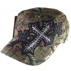 Bling Hat with Cross Embellishments in Camo