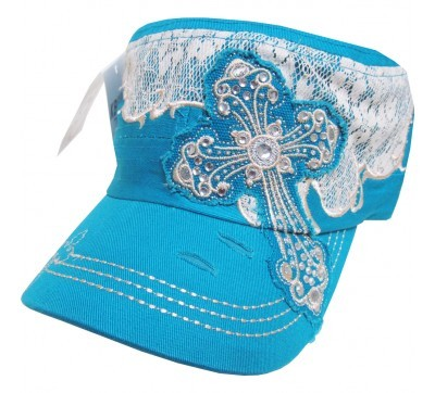 Bling Hat with Cross Embellishment in Turquoise