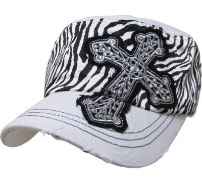 Bling Hat with Cross Embellishment and Black & White Zebra Print in White