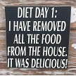 Diet Day 1:  I Have Removed All The Food From The House.  It Was Delicious!  Wood Sign