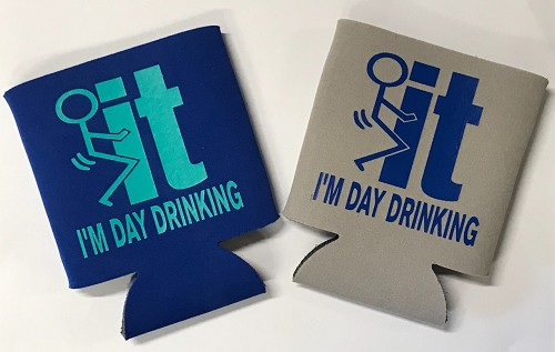 Fuck It!  I'm Day Drinking.  Collapsible Can Cooler / Coozie