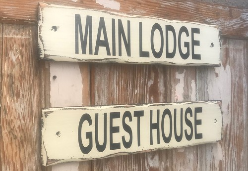 Main Lodge & Guest House.  Set of 2 Rustic Wood Signs