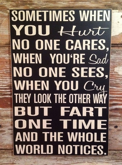 Sometimes When You Hurt No One Cares, When You're Sad No One Sees, When You Cry They Look The Other Way, But FART ONE TIME And The Whole World Notices.  Wood Sign