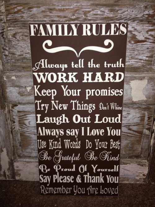 Family Rules Sign.  Wood Sign