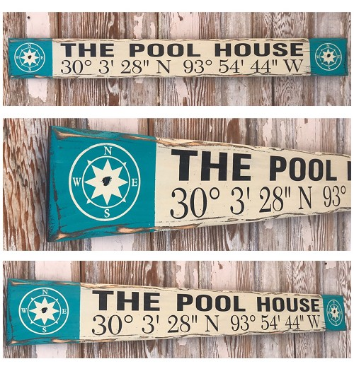 The Pool House Custom GPS Coordinates Sign.  Rustic 4 Foot Long Wood Sign