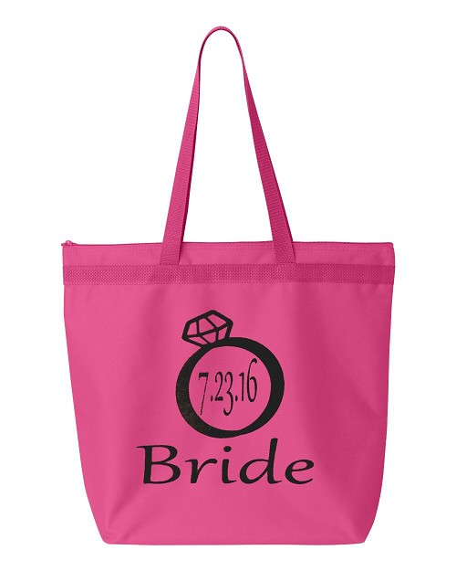 Bride with Wedding Date Zipper Tote Bag