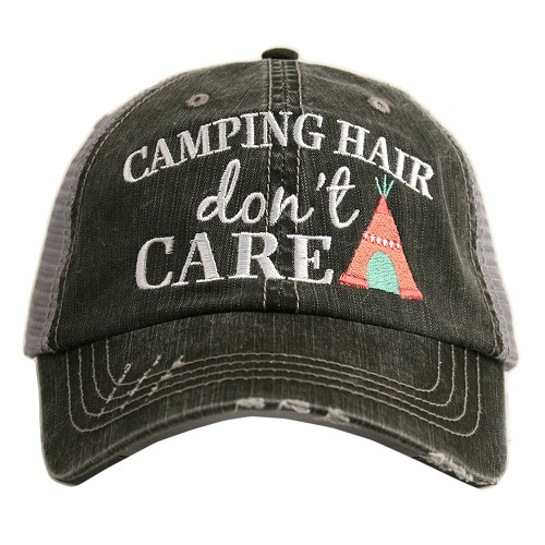 Camping Hair Don't Care.  Women's Trucker Hat - Coral